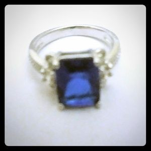 Silver plated sapphire blue CZ ring size 5